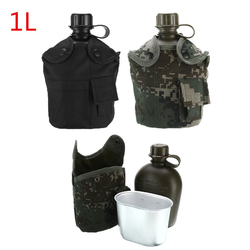 1L Outdoor Military Tactical Water Bottle Army Water Canteen Kettle With Pouch Cup Set For Camping Hiking Backpacking Survival Water Bags     - title=