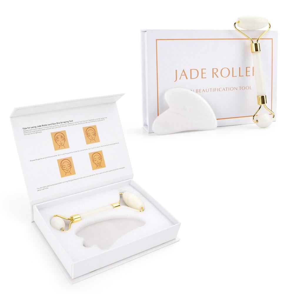 Oryginalny Jade kamień masaż naturalny kwarc skrobak rolka jadeitowa Gua sha zestaw biała tarcza podnoszenia narzędzie do masażu twarzy na plecy szyi