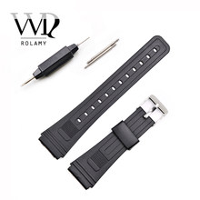Rolamy 20mm Horloge Band Strap Silicone Rubber Straight End Mannen Lady Zwart Vervanging Loop Voor Seiko Omega IWC Casio merk Horloge(China)