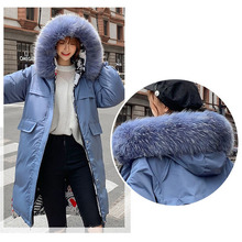 2019 New Winter Mid-Long Women Hooded parka Double-sided wear Big fur collar Thick warm fashion Down cotton clothing Female C117
