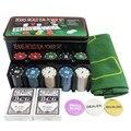 200 шт. Техасский Холдем игровой набор с коврик чипы колода карт и подарочная коробка