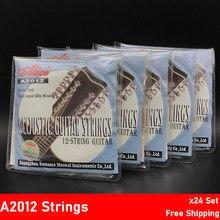 24 conjuntos alice a2012 12 cordas de guitarra acústica aço inoxidável revestido liga de cobre ferida 1st-12th atacado