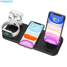 6 In 1 Qi 15W Fast Wireless Charging Station Type C USB Charger Stand Dock for iPhone 11/XS/XR/X/8 Apple Watch 5/4/3 AirPods Pro