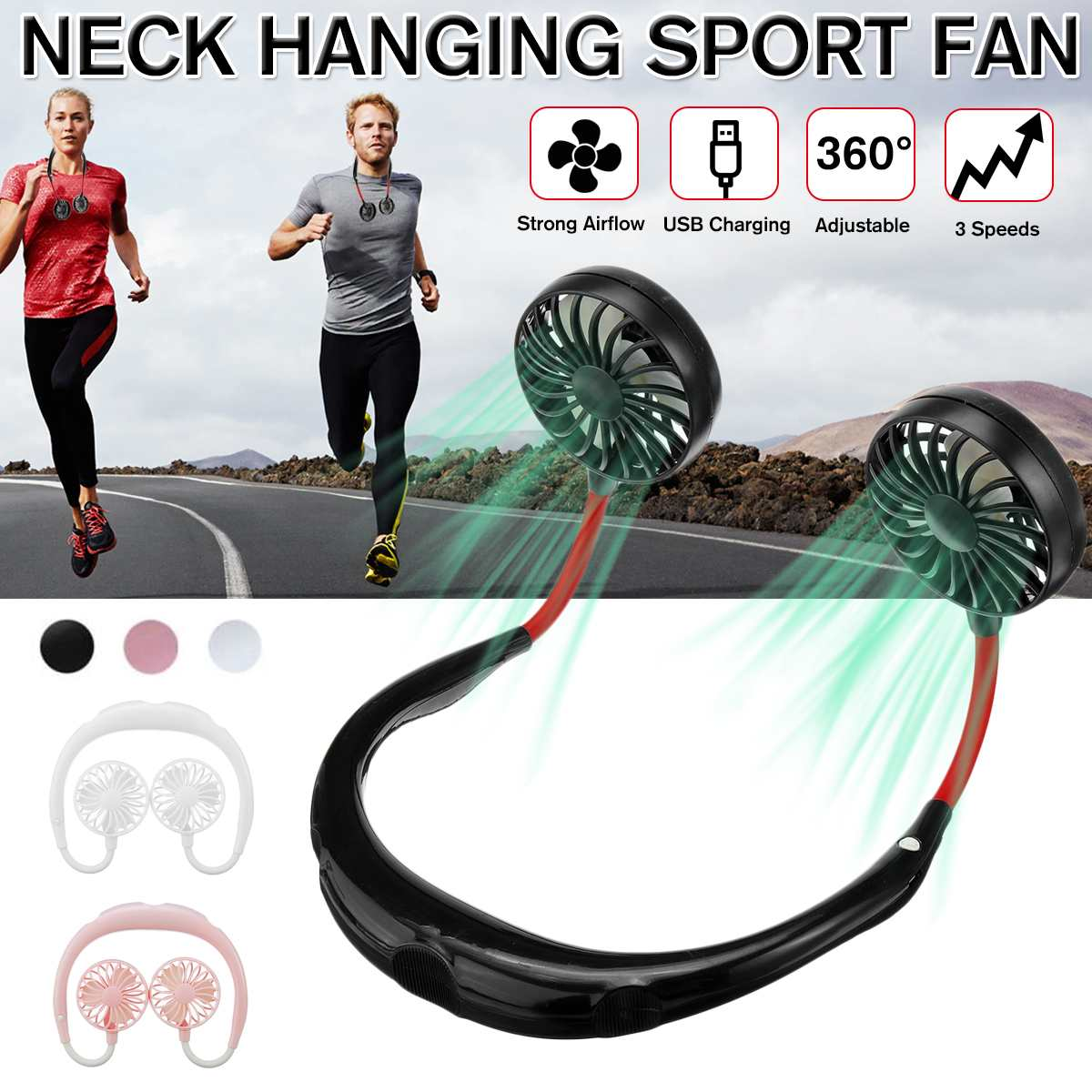 USB Rechargeable Wearable Hand Free Neckband Double Fan Personal Neck Fans 3 Speed Adjustable Portable Sport Fan
