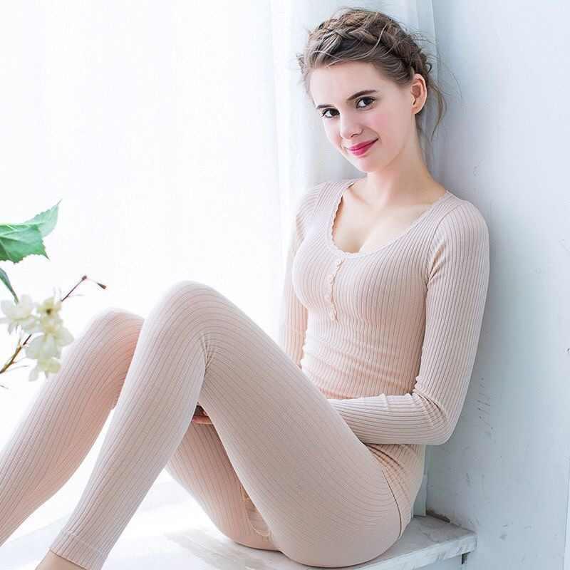 Katoenen Ondergoed Thermische Set Voor Vrouwen Sexy Dames Kleding Warm Intimates Vrouwen Vormige Sets Effen Kleur Thermische Pak Voor Vrouwelijke