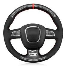 Housse de volant de voiture en daim, en Fiber de carbone noire cousue à la main pour Audi A3 8P Sportback A4 B8 Avant A5 8T A6 C6 A8 D3 Q5 8R Q7