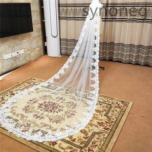 Image 3 - Veu de noiva longo dantel aplikler bir katmanlar 3M 4M 5MLong Veils düğün Veils tarak düğün aksesuarları gelin Veils