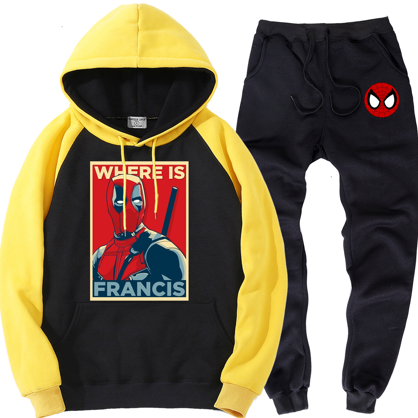 Deadpool And Spiderman Clothing Sets For Men Spring Autumn New Style Warm Hoodies Sports Trousers Street Brand 2 Piece Suit Men