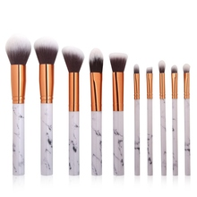 Makeup Beauty  Brushes Set With Large PU Leather Marble Pattern 10 Pcs Brush Kit Sets Cosmetic Tools Pincel Maquiagem