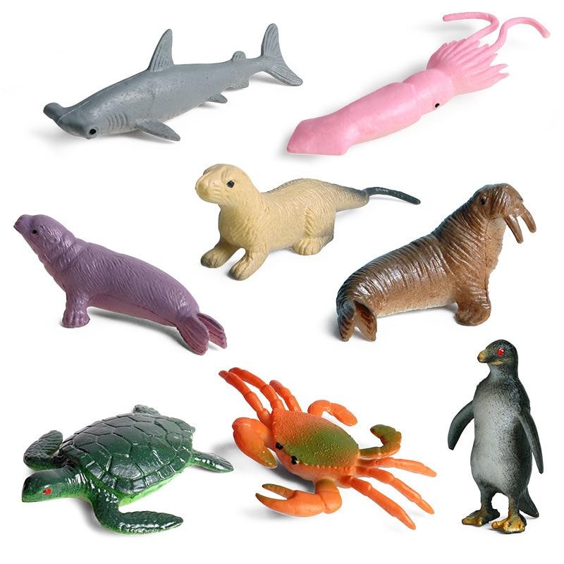 8pcs//set Plastic Ocean Animal Small Penguin Figure Model Toy LECA