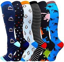 Chaussettes de Compression pour course à pied, 20-30 Mmhg, chaussettes de Sport longues unisexes, à rayures, pour voyage