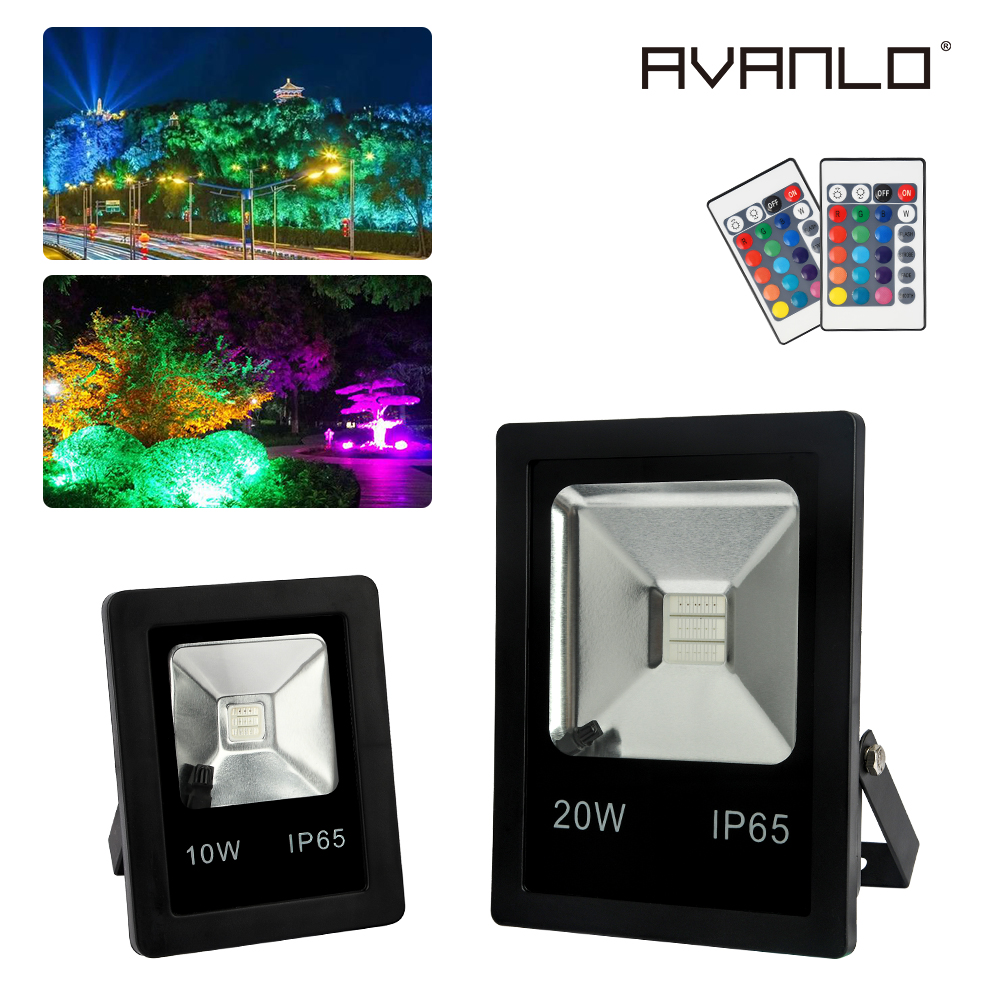 Led Flood Light 10W 20W IP65 Waterproof Led Spotlight OutdoorLighting Led Floodlight RGB Red/green/blue/white For Garden Square