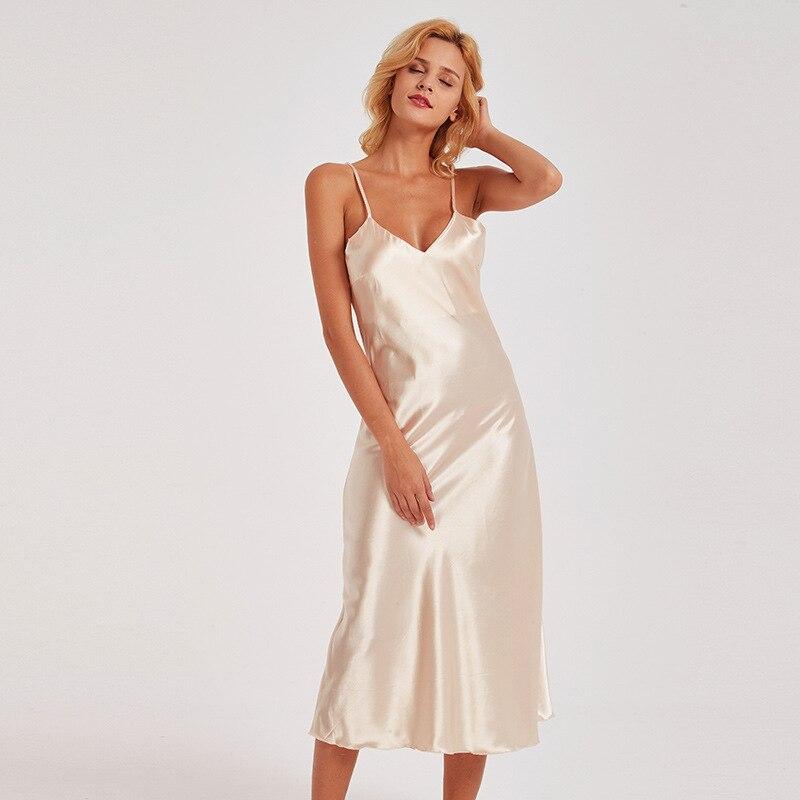Manufacturers Direct Selling Imitated Silk Pajamas Women's Slip Nightdress Lace Sexy V-neck Long Pajamas Tracksuit