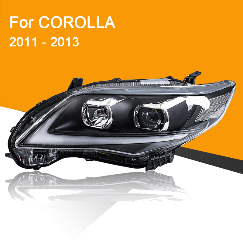 Headlight Assembly For Toyota Corolla 2011 2012 2013 Left And Right Side With LED DRL Running Light And Yellow Turning Signal