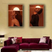 Obrazy na ścianę piękna kobieta plakaty i druki czerwono-tonowe tło słońca płótno bez ramy malarstwo dekoracja do sypialni domu tanie tanio Natividad CN (pochodzenie) Płótno wydruki Pojedyncze Wodoodporny tusz Rysunek malarstwo Unframed Nowoczesne NT-2999 Malowanie natryskowe