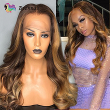 цена на Highlight body wave lace wig 13X6 lace front wigs honey blond highlight wigs Brazilian human Remy hair wig bleached knots 8-26''