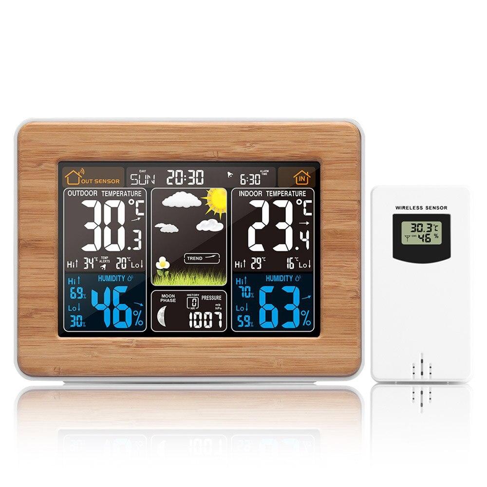 Цифровая метеостанция FanJu с ЖК-дисплеем, будильник, электронный термометр, гигрометр, беспроводной датчик, барометр, украшение для дома FJ3365