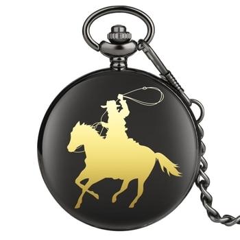 Reloj de bolsillo de cuarzo para montar a caballo vaquero, joyería de bolsillo clásica con cadena, reloj FOB directo de fábrica, venta al por mayor, Dropshipping