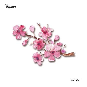 Wyuen New Design Pink Flowers Waterproof Temporary Tattoo Sticker for Women Body Art Fake Tattoo Blossom Make Up Tatoo P-135 4