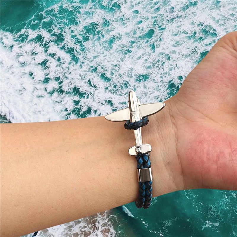 MKENDN stal nierdzewna złoto lotnictwo samolot kotwica bransoletki mężczyźni kobiety Retro skórzana bransoletka Air force style Homme biżuteria
