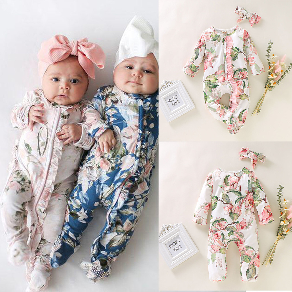 Baby Girl Boy Romper Ropa Bebe Winter Autumn Newborn Infant Footed Sleeper Romper Headband Romantic Floral Jumpsuit Outfits Set