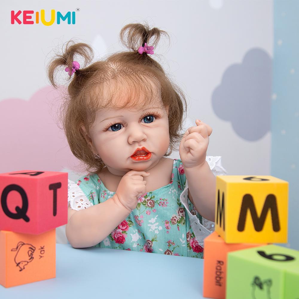 Силиконовые Детские куклы KEIUM на все тело, реалистичные Водонепроницаемые Красивые модные Новорожденные, Новорожденные, одежда, Цветочный ...