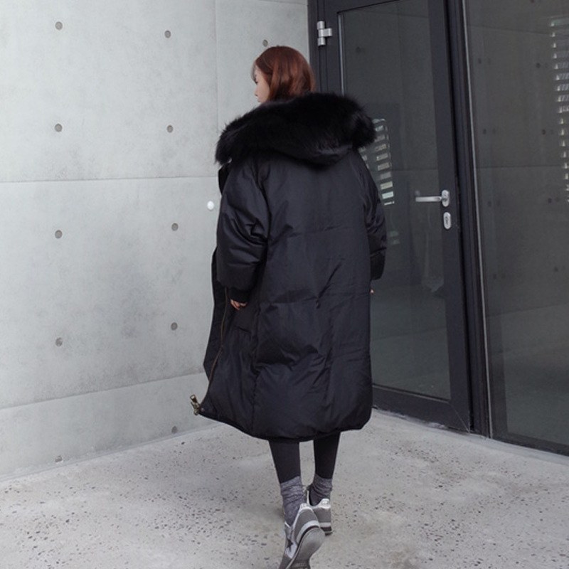 2020 New Fashion Winter Duck Down Jacket Women Long Coat Natural Raccoon Fur Collar High Quality Abrigos Mujer LX994