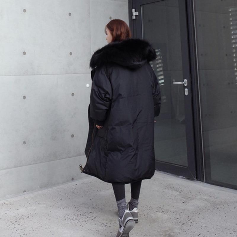 2020 New Fashion Winter Duck Down Jacket Women Long Coat Natural Raccoon Fur Collar High Quality Abrigos Mujer LX994