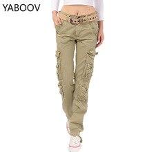 Kadın askeri kamuflajlı kargo pantolon streç balıkçılık Safari seyahat pantolon bayanlar düz çok cep pantolon Pantalon Femme