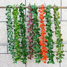 240cm Artificial Plants Creeper Green Leaf Ivy Vine Grass Plants Grape Leaves For Home Garden Party Decor Rattan Leaf artificial ivy green leaf wicker garland plants vine fake foliage home garden leaves osier decor fake rattan string grass cactus