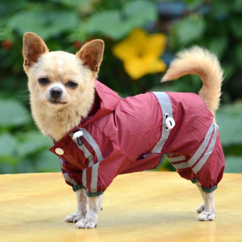 Puppy font b Pet b font Dog clothes Cool Raincoat Glisten Bar Hoody Waterproof Rain Lovely