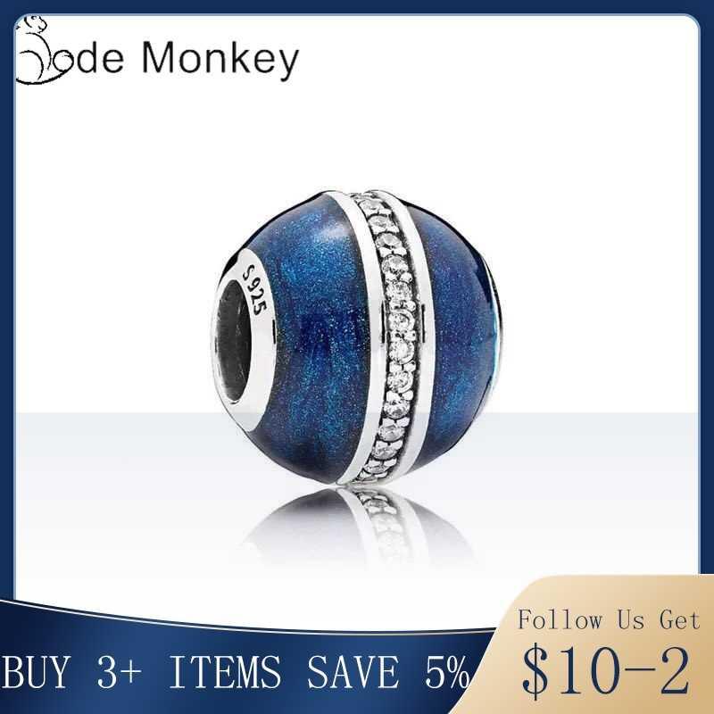 CodeMonkey 100% אמיתי 925 סטרלינג כסף כחול צמח זירקון חרוזים Fit מקורי צמיד לנשים DIY תכשיטי ביצוע CMS1511e
