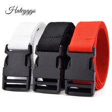 HATCYGGO Canvas Belt Women Designer Belts High Quality Plastic Buckle Jenas White Waistband