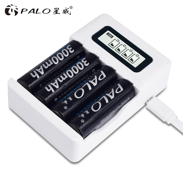 Intelligent LCD Display AA AAA Battery Charger For Ni Cd Ni Mh Rechargeable Batteries USB Interface  Smart Chargers US/EU Plug