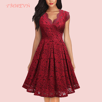 Summer Women Party Dress Vintage V Neck Sleeveless Lace Elegant Ladies Dresses with High Quality
