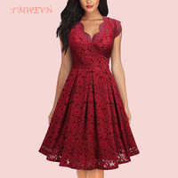 Summer Women Party Dress Vintage V Neck Sleeveless Dress Lace Elegant Ladies Dresses with High Quality Lace