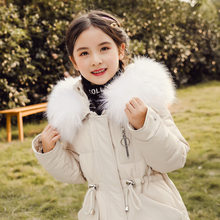 Children Down Jacket Girls Long Korean Style Solid Color Red White Pink Winter Hooded Coat Fur Collar Big Kids Snowwear(China)