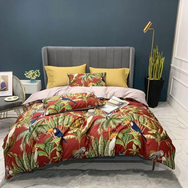 Egyptian Cotton Soft Duvet Cover Fitted/Bed sheet set Flamingo Paisley Bedding Set Family set Twin Queen King size 4Pieces 6