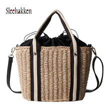 2019 Women Hand-woven handbag beach bag Natural straw shoulder bag  For Leisure High capacity Tote Bag Brown  Commuter package leisure straw and sequins design shoulder bag for women