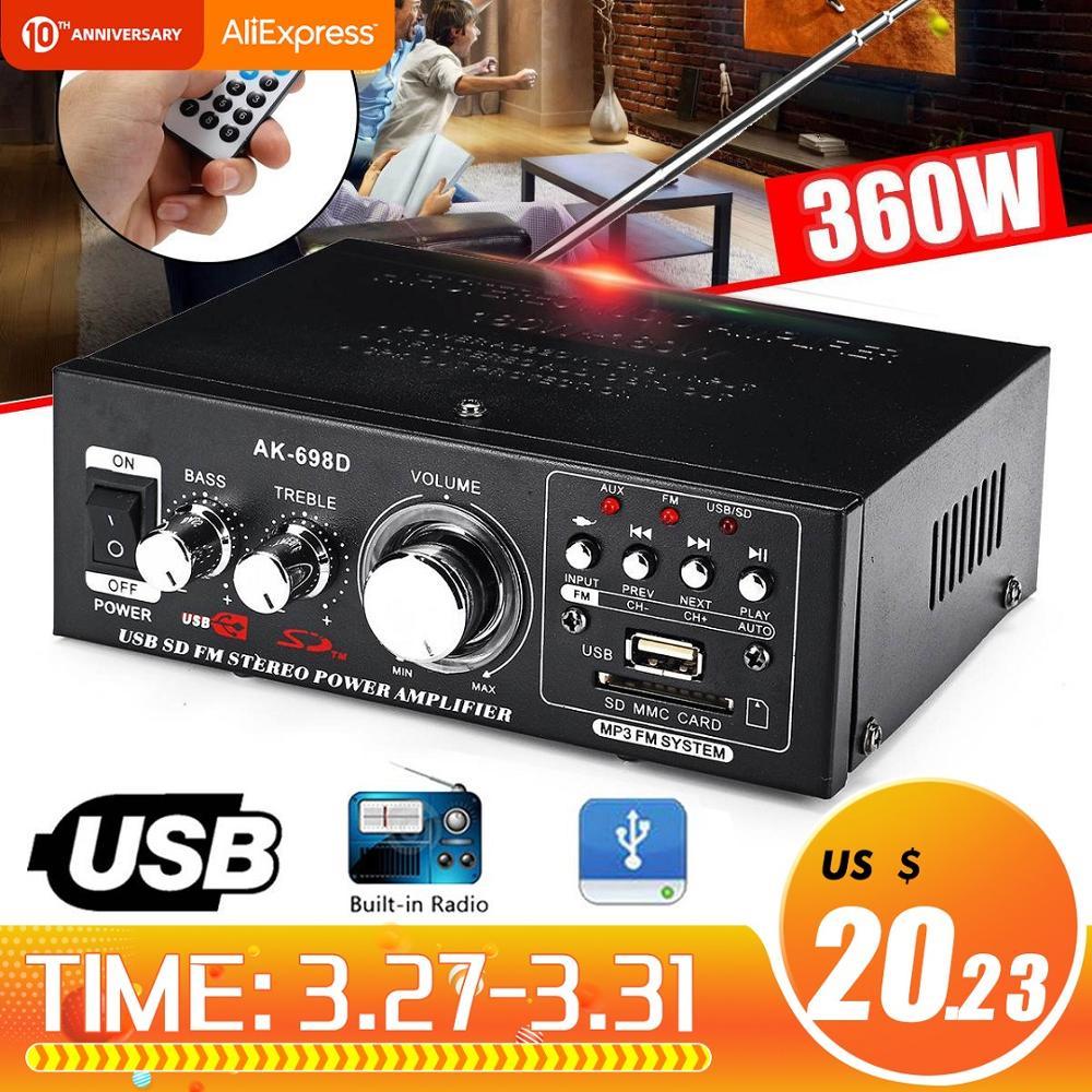 12V/220V 360W 2CH Car Home Power Amplifier Audio HIFI Digital Theater Sound System FM Stereo Radio Mini Amplifiers