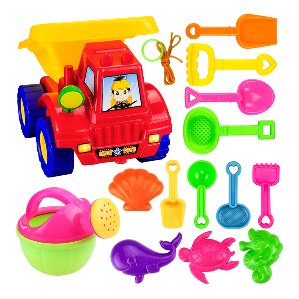 14Pcs Kids Beach Toys Plastic Sand Toys Set Cart Sand Dig Tools Sea Animal Model Beach Game Accessories Child Ourdoor Fun