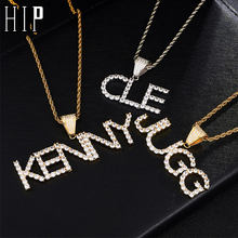 Hip Hop Custom Name Zircon Iced Out Letters Chain Pendants & Necklaces For Men Jewelry With Gold Silver Tennis Chain(China)
