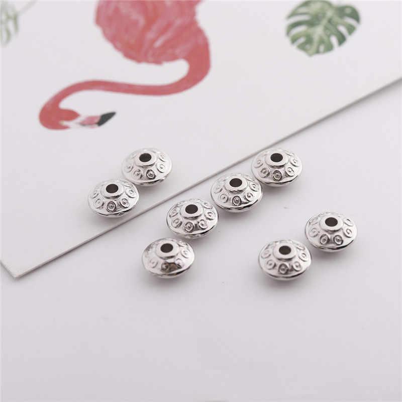 200 Buah/Banyak 3.4X6.4mm CCB (Bukan Logam) pola Lubang Bulat Manik-manik Emas Warna Perak Spacer Beads untuk Perhiasan Membuat Aksesoris
