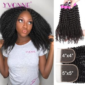 Yvonne 4A 4B Курчавые Кудрявые пучки с закрытием 3/4 + 1 пучки человеческих волос с закрытием 4 × 4/5 × 5 бразильские виргинские волосы переплетения