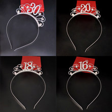 2021 Fashion Charm Digital 18 21 Hairbands Rhinestone Tiaras Women Girls Birthday Crowns Gift Party Hair Accessories Jewelry