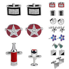 Christmas Tree Cufflinks Silver Wine Bottle Star Logo Cuff Links Geometric Square Crystal Tie Clips For Men Party Shirt Jewelry rj free shipping silver star wars cuff links robot bb8 r2d2 fighter knight stormtrooper tie clips cufflinks women men jewelry