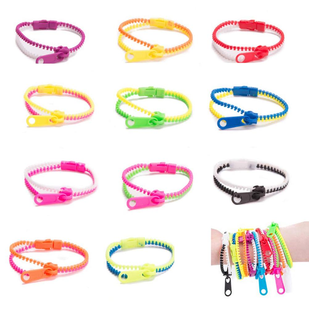 Fashion Unisex Dual Color Zipper Bracelet Fidget Sensory Kids Toys Party Favors For Women Men Wristband Kids Jewelr