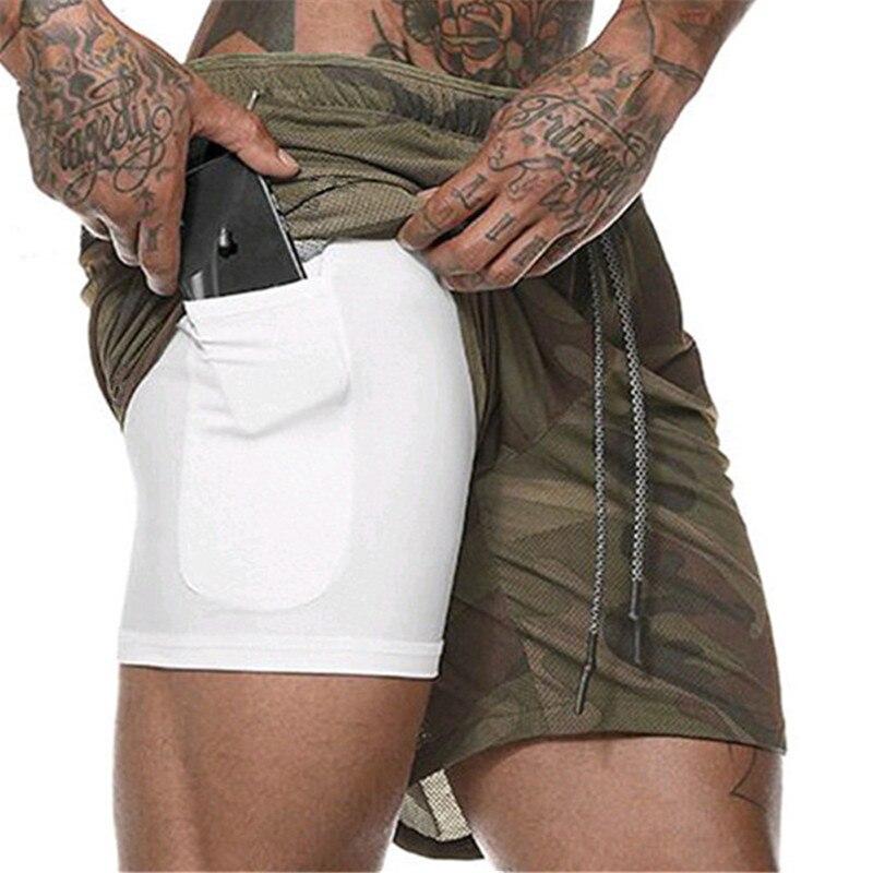 Men's 2 In 1 Running Shorts Hidden Pockets Outdoor Shorts Quick-Drying Sports Shorts Fitted Hiden Pockets Hiden Zipper Pockets