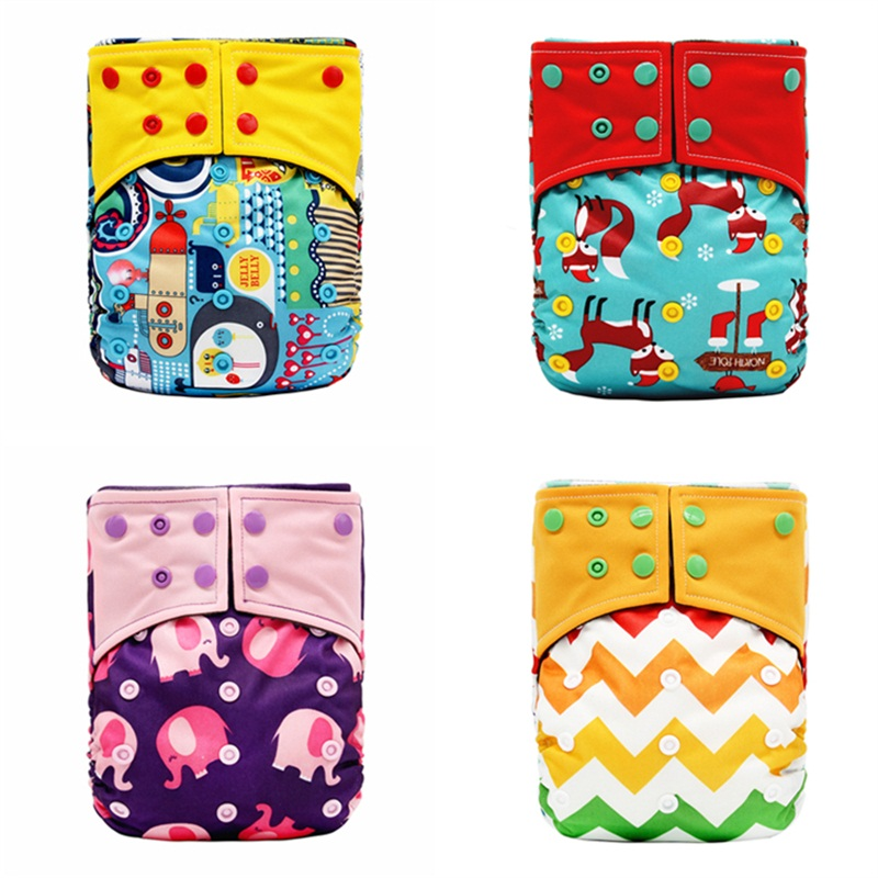 Eco-Friendly Bamboo Charcoal Fiber Cloth Washable &Reusable Baby Nappy New Print Adjustable Baby Diaper Cover Fit 3-15kg Baby