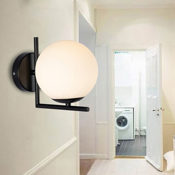 FUNN-Modern Glass Wall Lamp Moon Black Design Round Indoor Bedside Reading Lamp Installation Nordic Wood